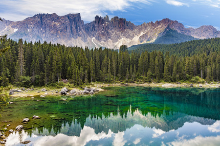 perfectly: Perfectly clear emerald lake in the Dolomites at Latemar