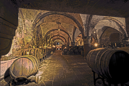 tourismus: EBERBACH, GERMANY - JUNE 6, 2016: old vinery in Eberbach. The Abbey is a former Cistercian monastery near Eltville am Rhein in the Rheingau, Germany.