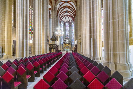 mentioned: MUEHLHAUSEN, GERMANY - JAN 17, 2016:  Church of Our Lady in Muelhausen, Germany. The city was first mentioned in 967 and became very important in central Germany during Middle Ages.