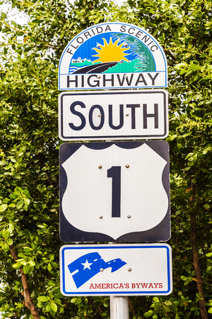 highway sign: highway sign No1 Florida keys Stock Photo