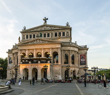 oper: FRANKFURT - GERMANY - JULY 9, 2016: Alte Oper at night in Frankfurt, Germany. Alte Oper is a concert hall built in the 1970s on the site of and resembling the old Opera House destroyed in WWII. Editorial