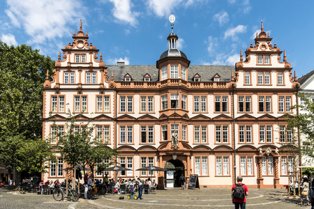 MAINZ: MAINZ, GERMANY - JULY 15, 2016: Old Historic Gutenberg Museum with blue sky in Mainz, Germany. Mainz is the capital of county Rhineland-Palatinate.