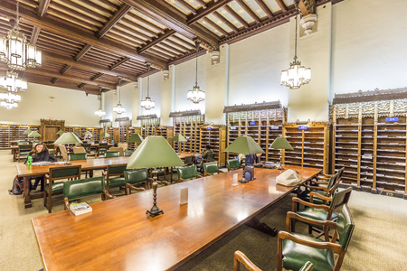 NEW HAVEN, USA - OCT 28, 2015: Interior of Yale University library in New Haven. Editorial