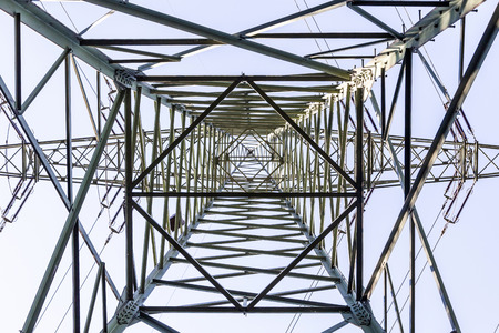 electrical tower: electrical tower from inside perspective of construction