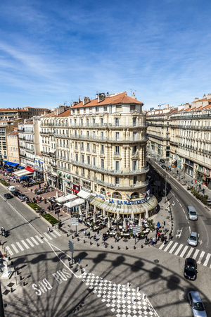 old port: MARSEILLES; FRANCE - MAR 29, 2015: view to the historic promenade at the old port of Marseilles.