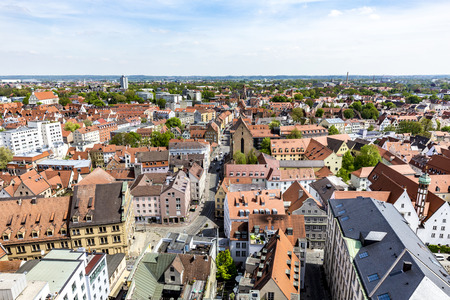 timbered: AUGSBURG, GERMANY - APR 29, 2015: skyline of Augsburg with famous old town hall and half timbered houses