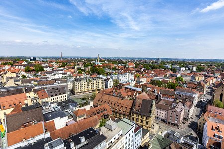 AUGSBURG, GERMANY - APR 29, 2015: skyline of Augsburg with famous old town hall and half timbered houses