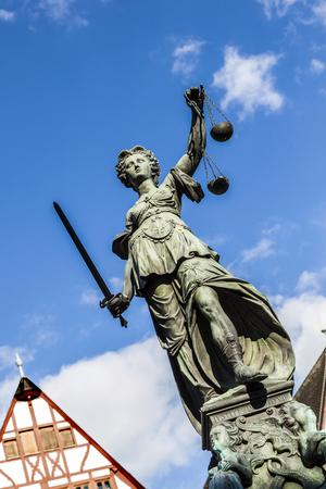 roemerberg: Justitia (Lady Justice) sculpture on the Roemerberg square in Frankfurt, built 1887.