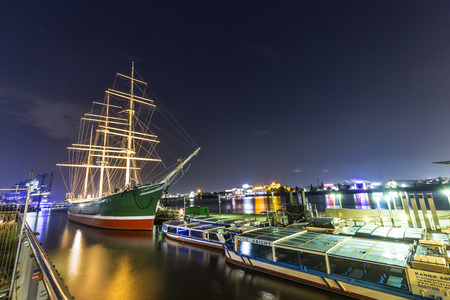 barque: HAMBURG, GERMANY - JULY 30, 2016: ship Rickmer Rickmers in Hamburg. The Rickmer Rickmers is a sailing ship - three masted barque - permanently moored as a museum ship in harbor of Hamburg