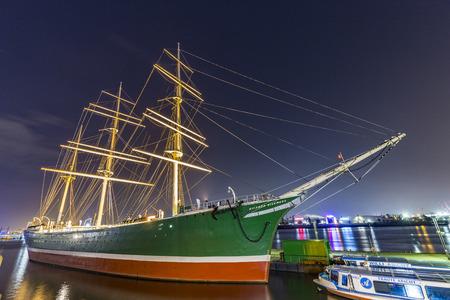 permanently: HAMBURG, GERMANY - JULY 30, 2016: ship Rickmer Rickmers in Hamburg. The Rickmer Rickmers is a sailing ship - three masted barque - permanently moored as a museum ship in harbor of Hamburg