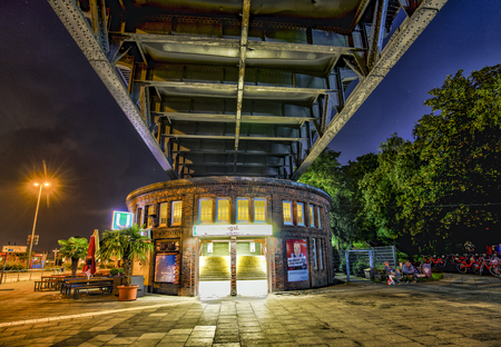 HAMBURG - GERMANY - JULY 30, 2016: famous subway station Landungsbruecken near St. Pauli by night  in Hamburg, Germany. The station was build between 1906 and 1012 and is still in use. Editorial