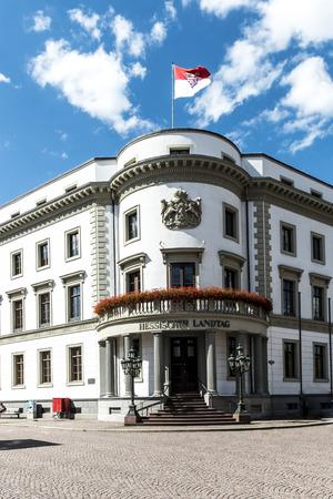 hessen: WIESBADEN, GERMANY - AUG 8, 2016: house of politics, the Hessischer Landtag in Wiesbaden Editorial