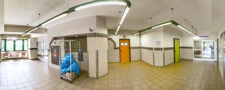 healthcare visitor: FRANKFURT, GERMANY - AUG 7, 2016: panorama view of the isles inside the Hospital in Frankfurt Hoechst, a hospital which was originally founded for Workers in the 19th century.