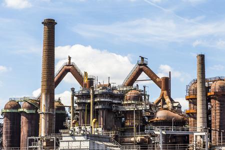 사르, 독일 Volklingen 제철소의 파노라마 스톡 콘텐츠
