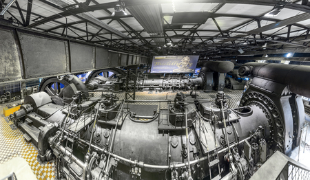 saar: VOELKLINGEN, GERMANY - AUG 13, 2016: inside the machine hall for heating at Volklingen Ironworks in Saar, Germany. The plant was in production until 1986.