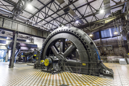 ironworks: VOELKLINGEN, GERMANY - AUG 13, 2016: inside the machine hall for heating at Volklingen Ironworks in Saar, Germany. The plant was in production until 1986.