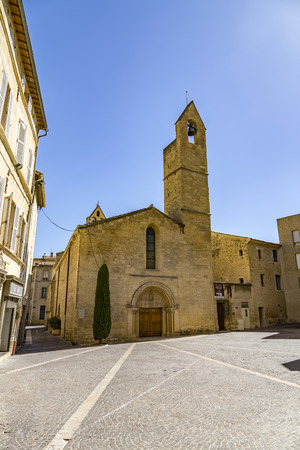 laurent: old church saint laurent in Salon de provence  under blue sky