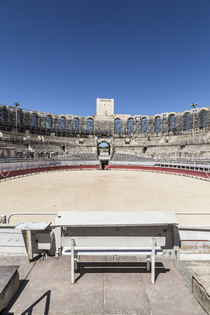 bullfight: ARLES, FRANCE - AUG 21, 2016: view to famous arena in Arles, France. The old arena still serves as stadium for bull fights. Editorial
