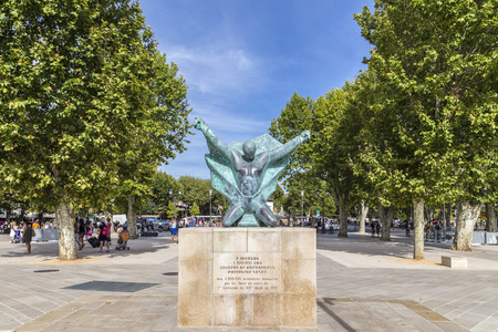 the turks: AIX EN PROVENCE, FRANCE - AUG 19, 2016: statue to remember the massacre at the armenians by the turks in 1915.