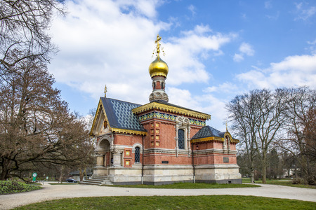 russian orthodox chappel in Bad Homburg under blue sky Stock Photo