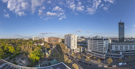 zoological: BERLIN, GERMANY - MAY 2, 2016:  panoramic view  of Berlin from top of zoological garden