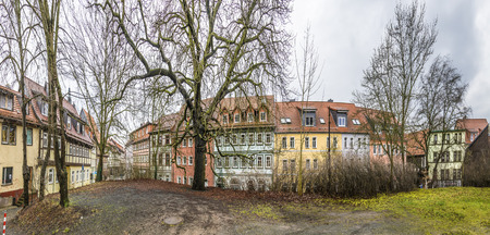 timbered: panorama of street with half timbered houses in Nordhausen, Thuringia, Germany
