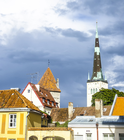 houses and church in tthe old Town in Tallinn, Estonia