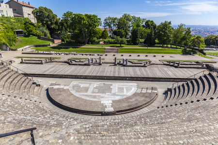 LYON, FRANCE - SEP 2, 2016: Amphitheater of the Three Gauls in Fourviere above Lyon France under blue sky Editorial