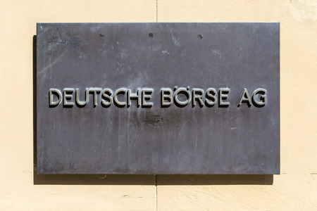 ag: FRANKFURT, GERMANY - SEP 8, 2016: sign deutsche Bourse AG - German stock exchange in front of stock exchange in Frankfurt, Germany. Frankfurt Stock exchange is the most important in Germany.