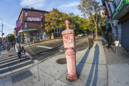 emergency case: NEW YORK, USA - OCT 21, 2015: typical street scene with people in early morning in New York, Brooklyn. An old victorian  fire and police emergency phone is installed to get help in case of crime. Editorial