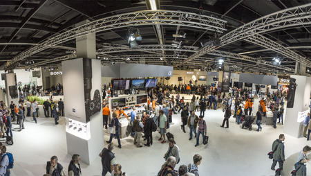 fair trade: COLOGNE, GERMANY - SEP 21, 2016: people visit the Photokina in Cologne. Photokina is the worlds leading trade fair for photos and video.