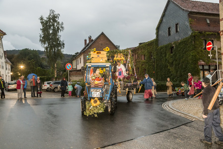 local festivals: BAD FRANKENHAUSEN - SEP 17, 2016: people at the farmers procession to remember the farmer revolution in the medieval times in Bad Frankenhausen, Germany.