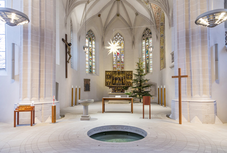 st german: EISLEBEN, GERMNANY - JAN 16, 2016: inside famous St. Petri - Pauli church in Eisleben. It is the christening church of Martin Luther, the famous german reformer.