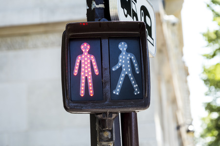 dont walk: red traffic light for pedestrians in paris indicates stop Stock Photo