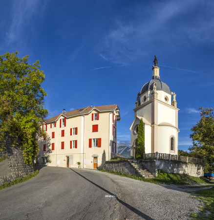 skyline of Seyne les Alpes in the french Region provence des haut alpes with chapel