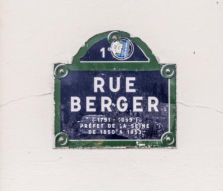 berger: Paris, FRANCE - SEP 9, 2015:  Rue Berger - old enamel street sign in Paris, France. Editorial