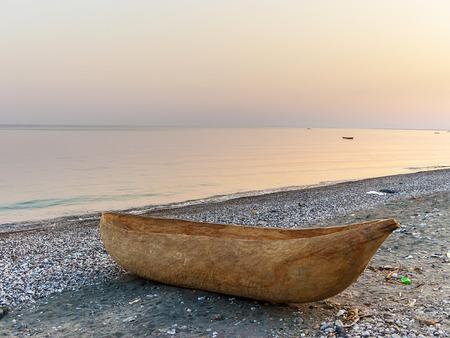 dug out longboat at the beach of lake Malawi in Tanzania