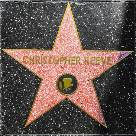 LOS ANGELES, USA - JUNE 24, 2012: Christopher Reeves star on Hollywood Walk of Fame  in Hollywood, California. This star is located on Hollywood Blvd. and is one of 2400 celebrity stars. Editorial