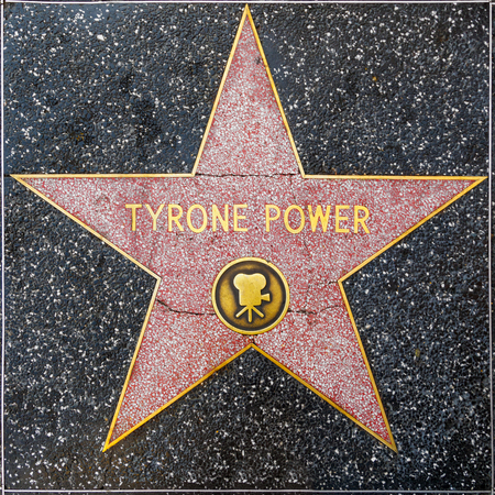 LOS ANGELES, USA - JUNE 24, 2012:  Tyrone Powers star on Hollywood Walk of Fame  in Hollywood, California. This star is located on Hollywood Blvd. and is one of 2400 celebrity stars. Editorial