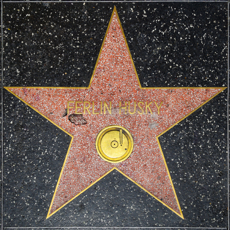 huskys: LOS ANGELES, USA - JUNE 24, 2012: Ferlin Huskys star on Hollywood Walk of Fame in Hollywood, California. This star is located on Hollywood Blvd. and is one of 2400 celebrity stars.