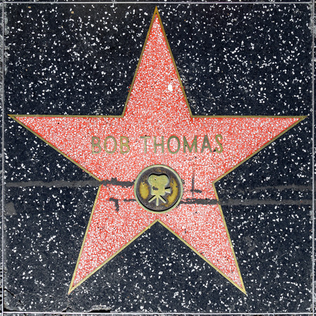 county side: LOS ANGELES, USA - JUNE 24, 2012: Bob Thomas star on Hollywood Walk of Fame  in Hollywood, California. This star is located on Hollywood Blvd. and is one of 2400 celebrity stars. Editorial