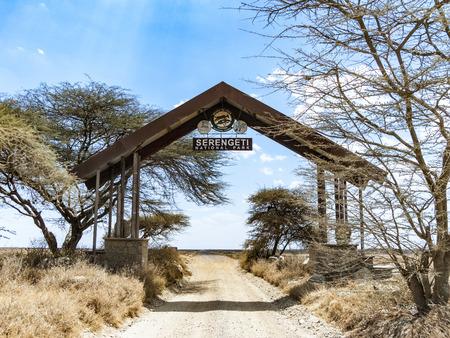 tanzania: SERENGETI, TANZANIA - AUG 20, 2016: entrance of Serengeti national park in Tanzania.