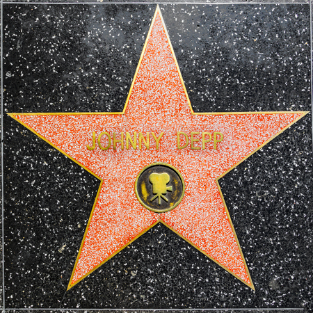 LOS ANGELES, USA - JUNE 24, 2012: Johnny Depps star on Hollywood Walk of Fame  in Hollywood, California. This star is located on Hollywood Blvd. and is one of 2400 celebrity stars.