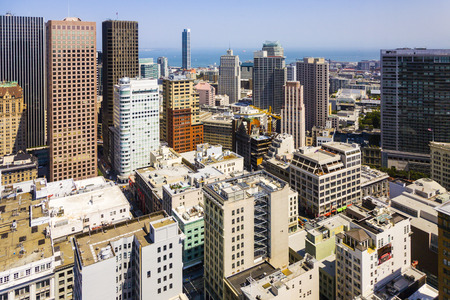 taller: SAN FRANCISCO, USA - JULY 24, 20087: view from the rooftop , San Francisco, USA.  The city is the site of over 410 high-rises,44 of which stand taller than 400 feet.