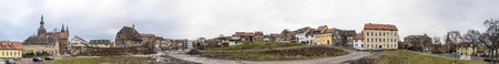 panoramic view to buildings in Eisleben, Germany without people