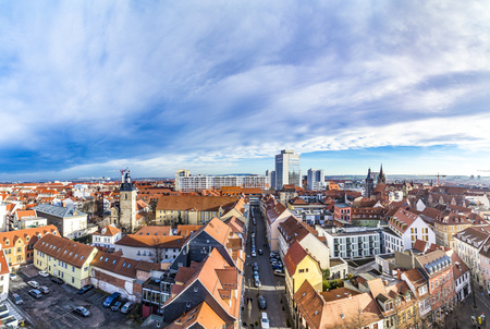 ERFURT, GERMANY - DEC 20, 2015: skyline of old town of Erfurt, Germany. Erfurt was first mentioned in 742, as Saint Boniface founded the diocese.