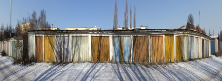 old garage doors in a row in the GDR, former socialistic Germany Stock Photo