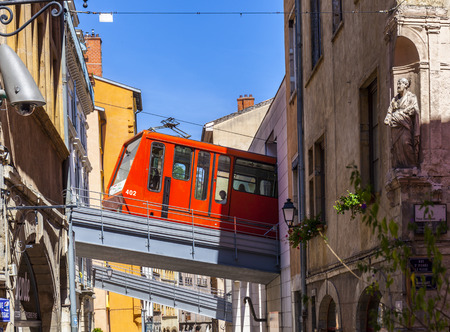 LYON, FRANCE - SEP 2, 2016: the cable car connects the old town with the hill Fourviere with its basilica.