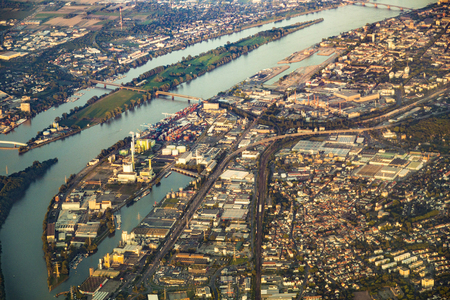 MAINZ: aerial of harbor in Mainz at river Rhine