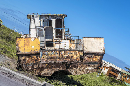 old fisher boats decay at the beach and pollute the landscape Stock Photo